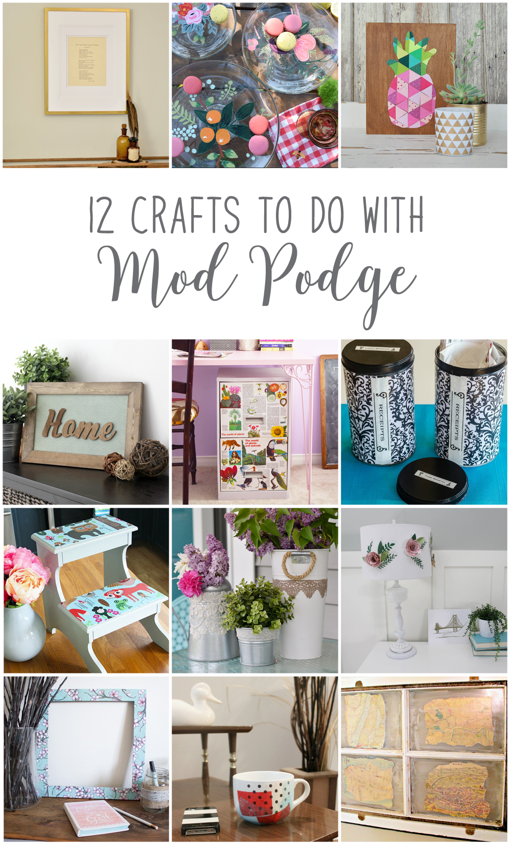 12 fun arts and crafts ideas to make using Mod Podge including upcycling a photo frame into a new piece of DIY wall art.
