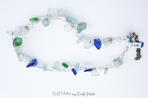 Handmade sea glass necklace purchased at Value Village with lovely pieces of aqua, blue and green glass.