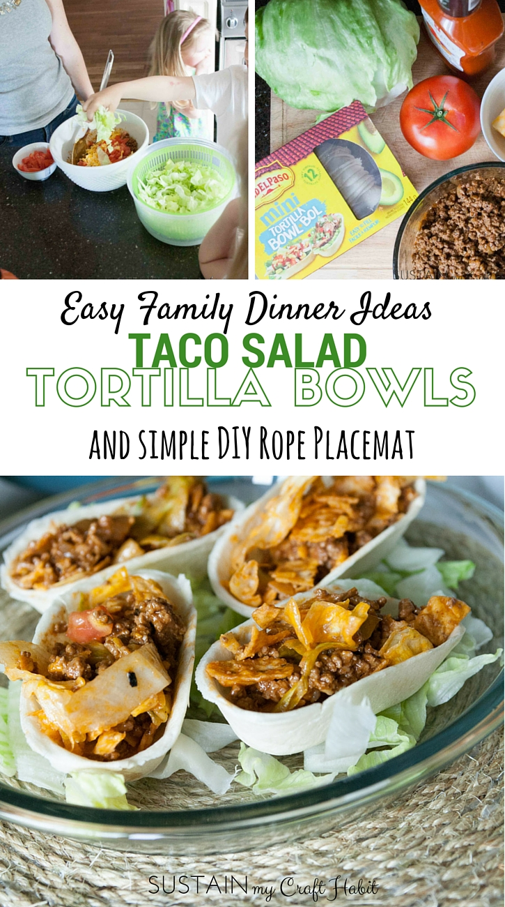 Plan your own fun family dinner night with this delicious taco salad recipe served in soft tortilla bowls. A bonus tutorial to make a simple DIY rope place mat is included. #CreateYourBowl #sponsored