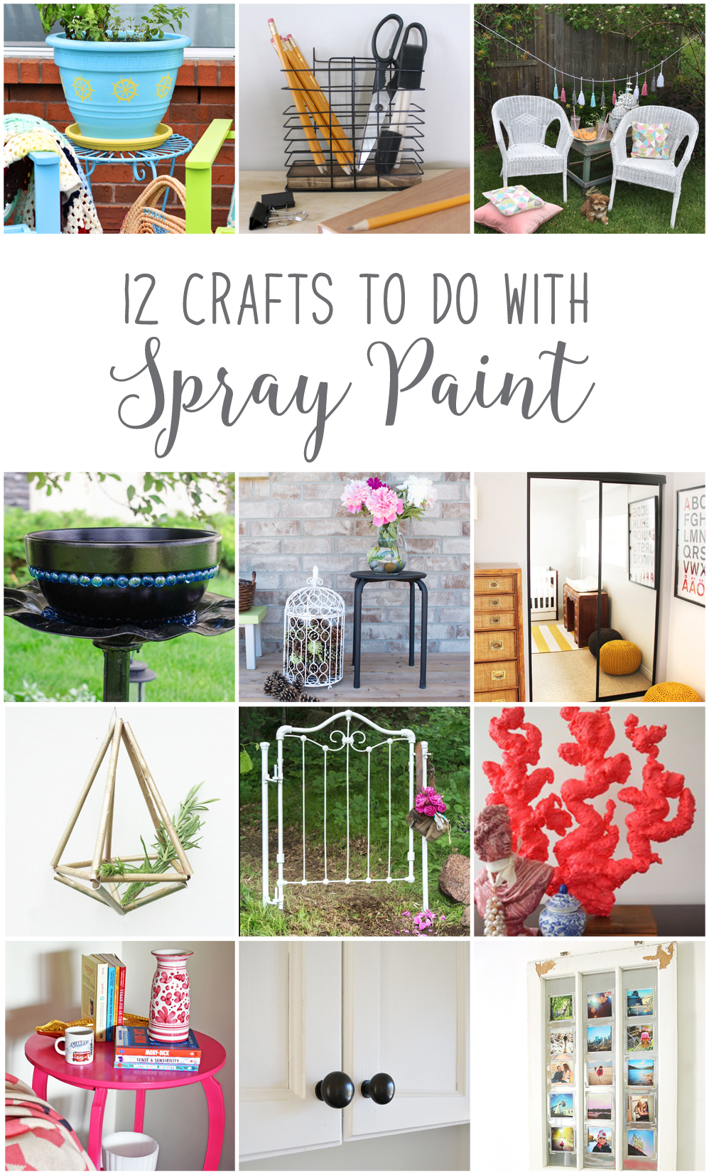 Easy DIY ideas for upcycling old metal outdoor decor and 9 other projects using spray paint. Love the pine-cone filled birdcage idea!