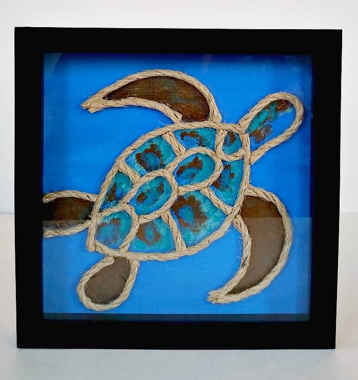Rope wrapped turtle art by Erlene Amat