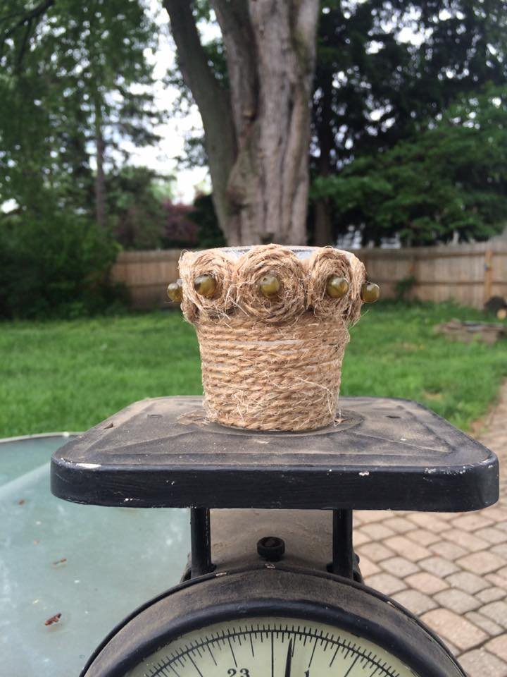 Rope wrapped votive candle holder by Maureen Rene