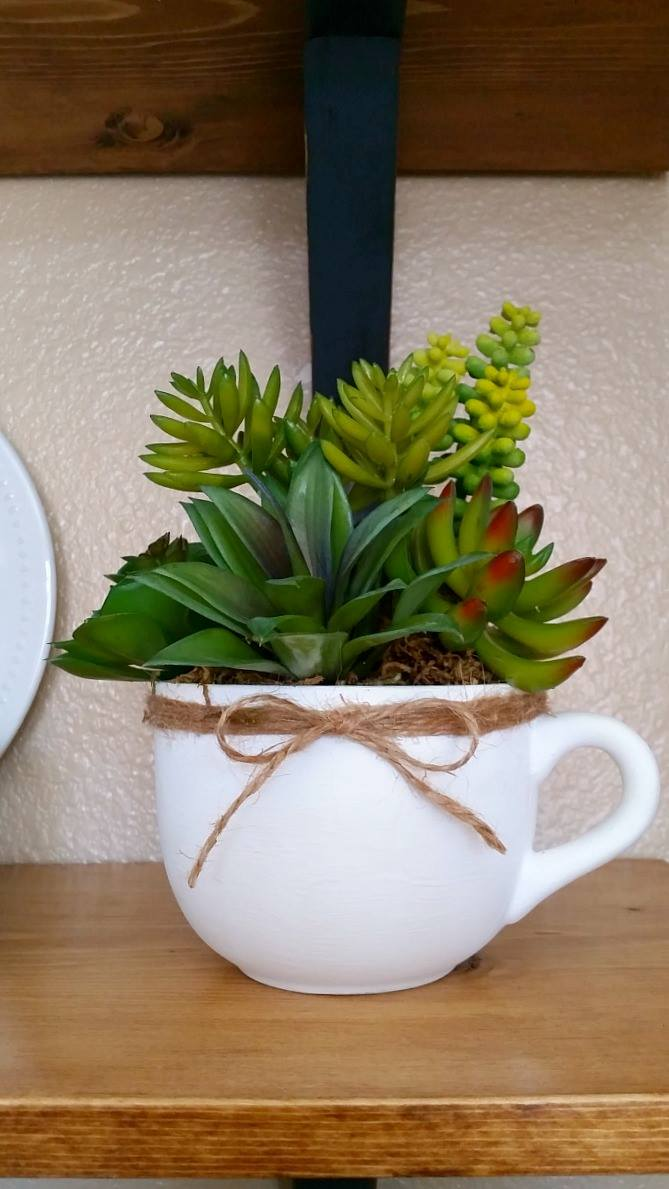 Upcycled thrift store mug with twine and faux succulents by Erlene Amat