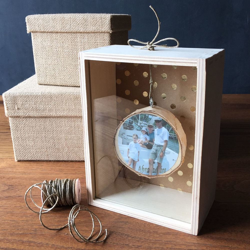 Branch slice photo memory box by Lorrie Everitt