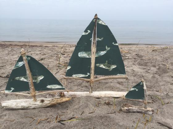 Driftwood sailboats by Sue Purdy