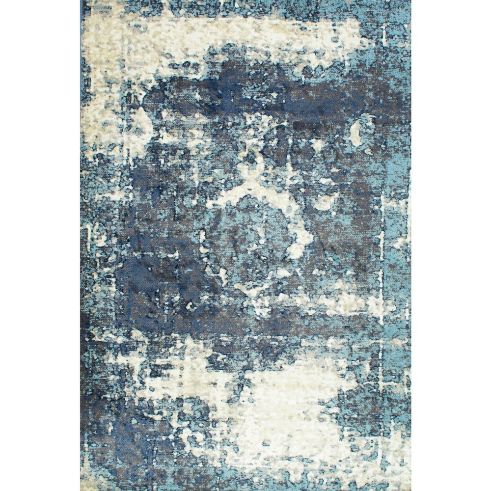 Overdyed Distressed Blue Area Rug