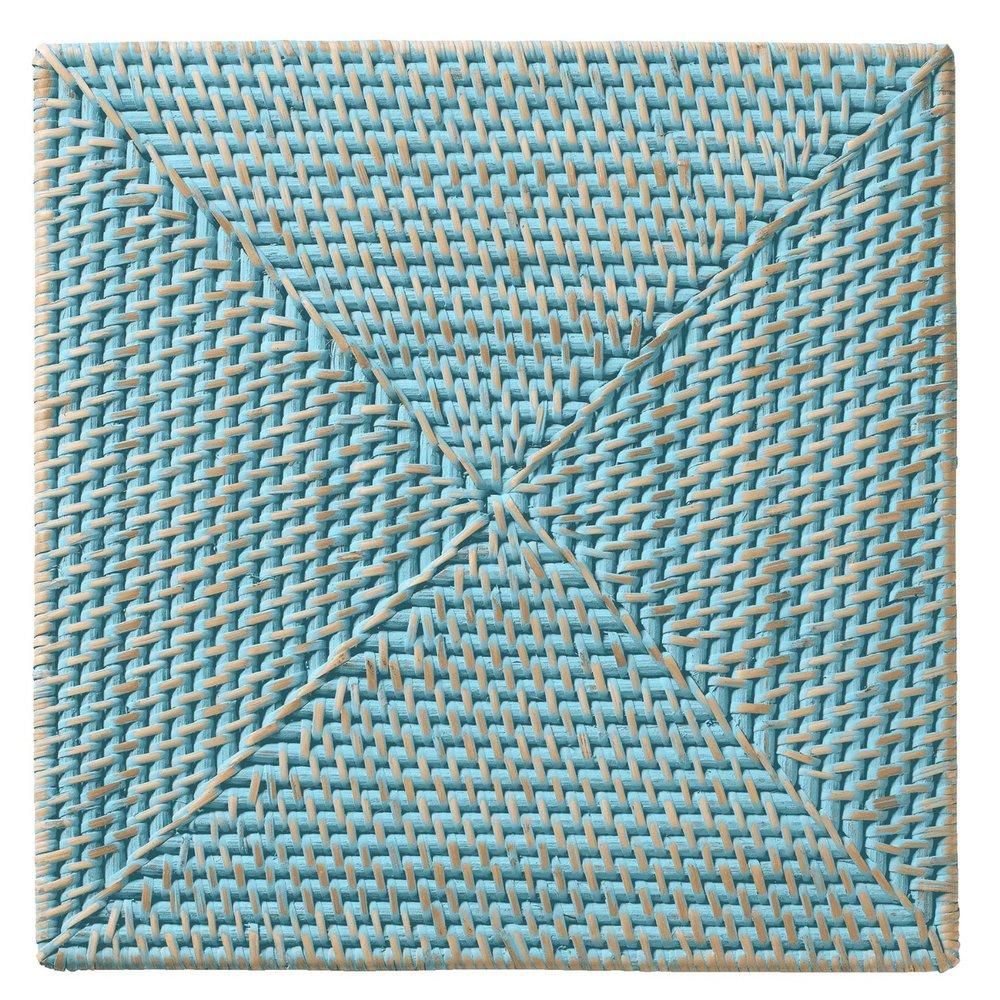 Aqua Rattan Square Placemats