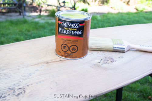 How to apply Minwax polyurethane sealer to a piece of upcycled barn wood to make a narrow console table.