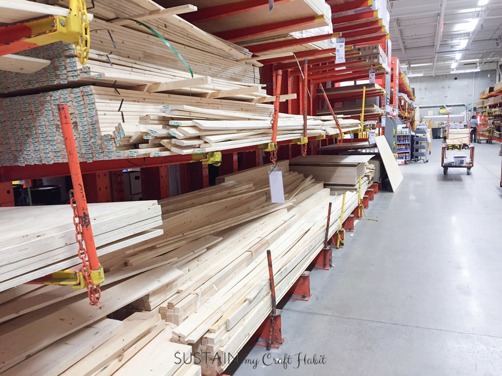 Shopping at the Home Depot Canada to make a DIY ladder blanket with driftwood!