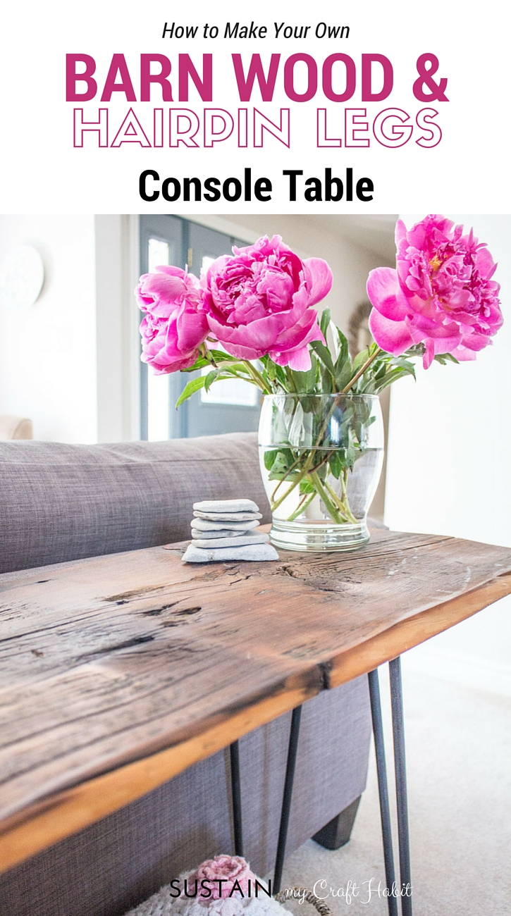 Love this gorgeous console table made with reclaimed barn wood and hairpin legs. Great step-by-step tutorial included for this DIY home decor project!
