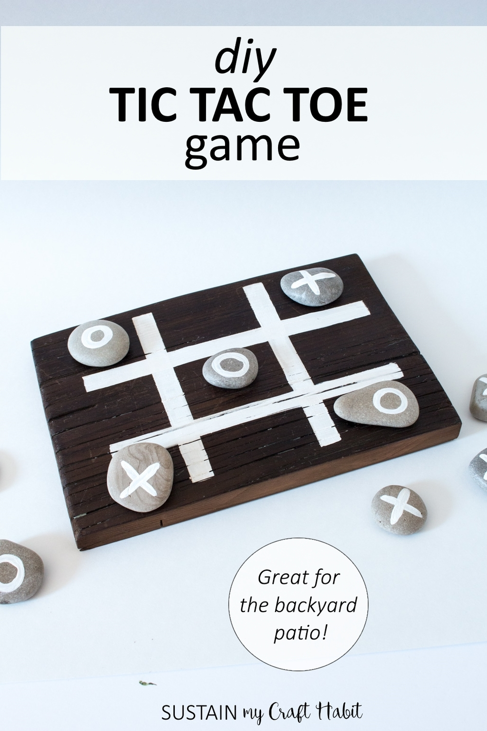 Make an easy tic tac toe game with rocks and a wood board. Great for the back porch or cottage! Video tutorial included.