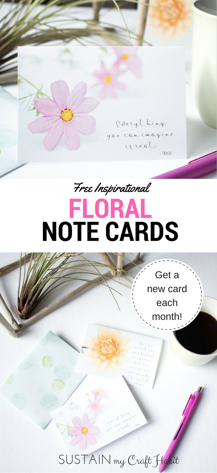 These free printable note cards would be great for birthdays, showers or other special events in need of a little motivational touch. Click through to grab your own and sign up to receive and new card template each month.