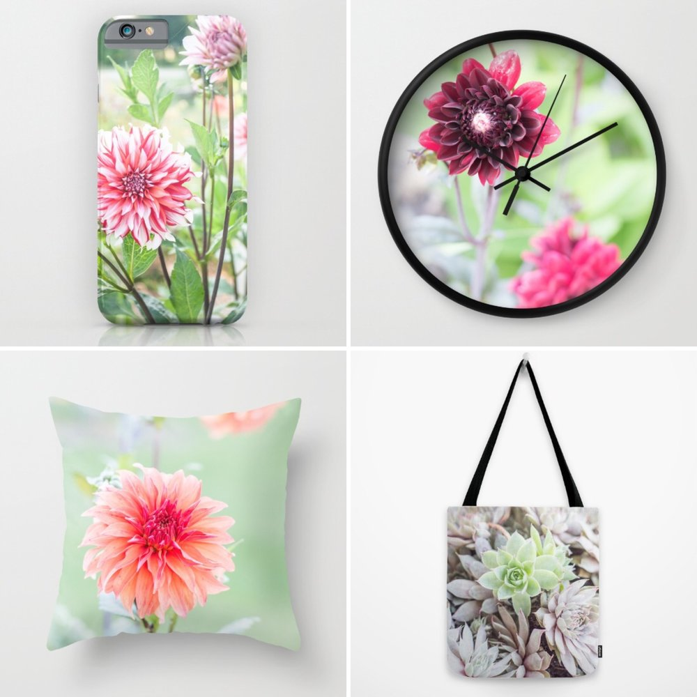 Beautiful nature inspired, floral products on Society6 by Sustain My Craft Habit.