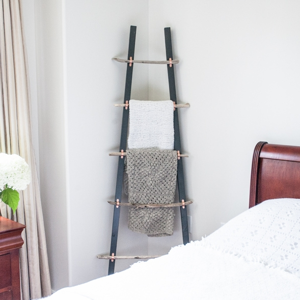 DIY Blanket Ladder with Driftwood