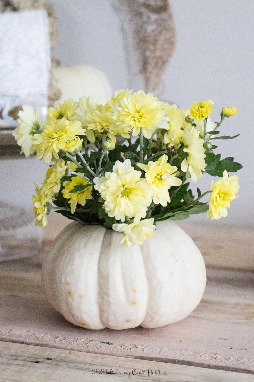mini pumpkin fall decor flower arrangement Sustain My Craft Habit-6638.jpg