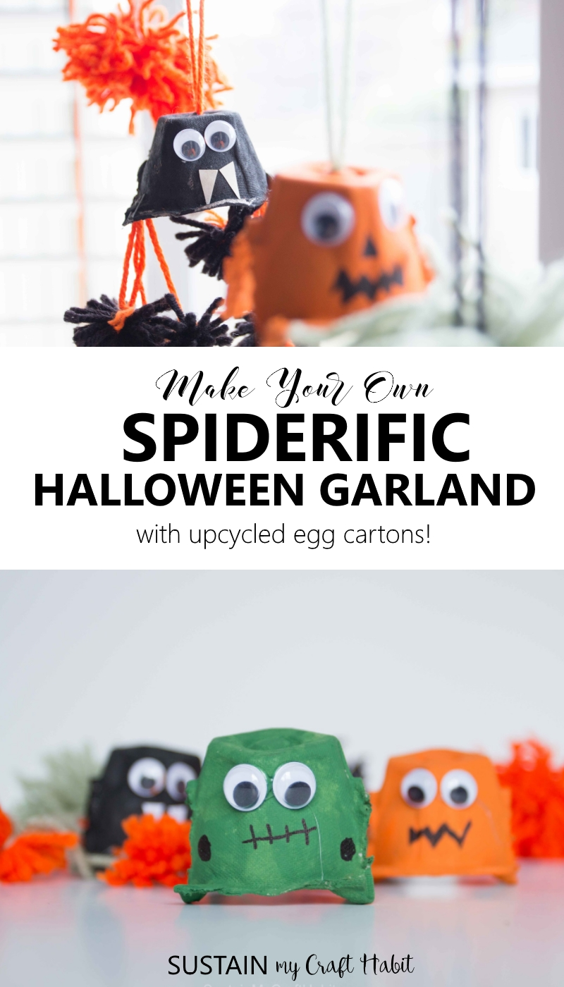 Create your own cheap Halloween decorations with a simple DIY garland made from upcycled egg cartons.