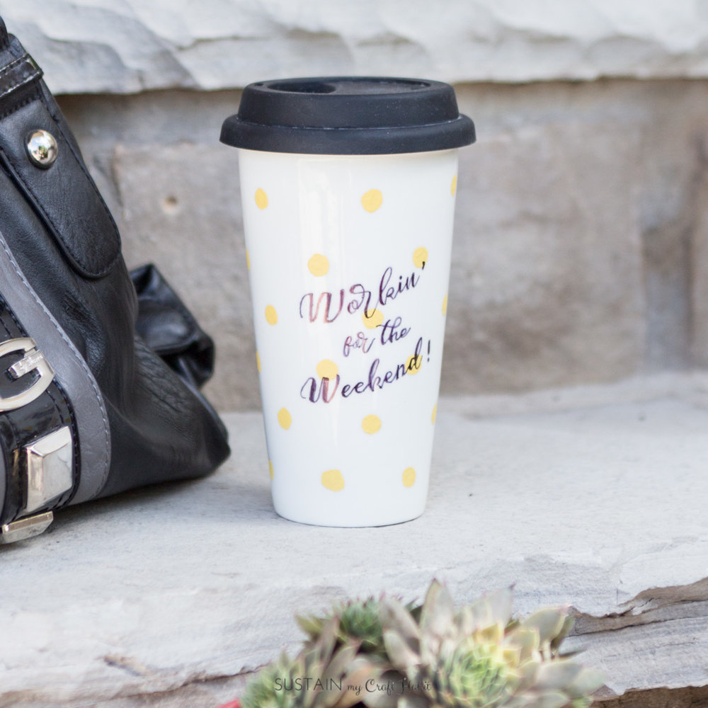 """A DIY """"Workin' for the Weekend"""" mug is just one of 11 ideas for making the commute to work more fun. Click through to check out the others!"""
