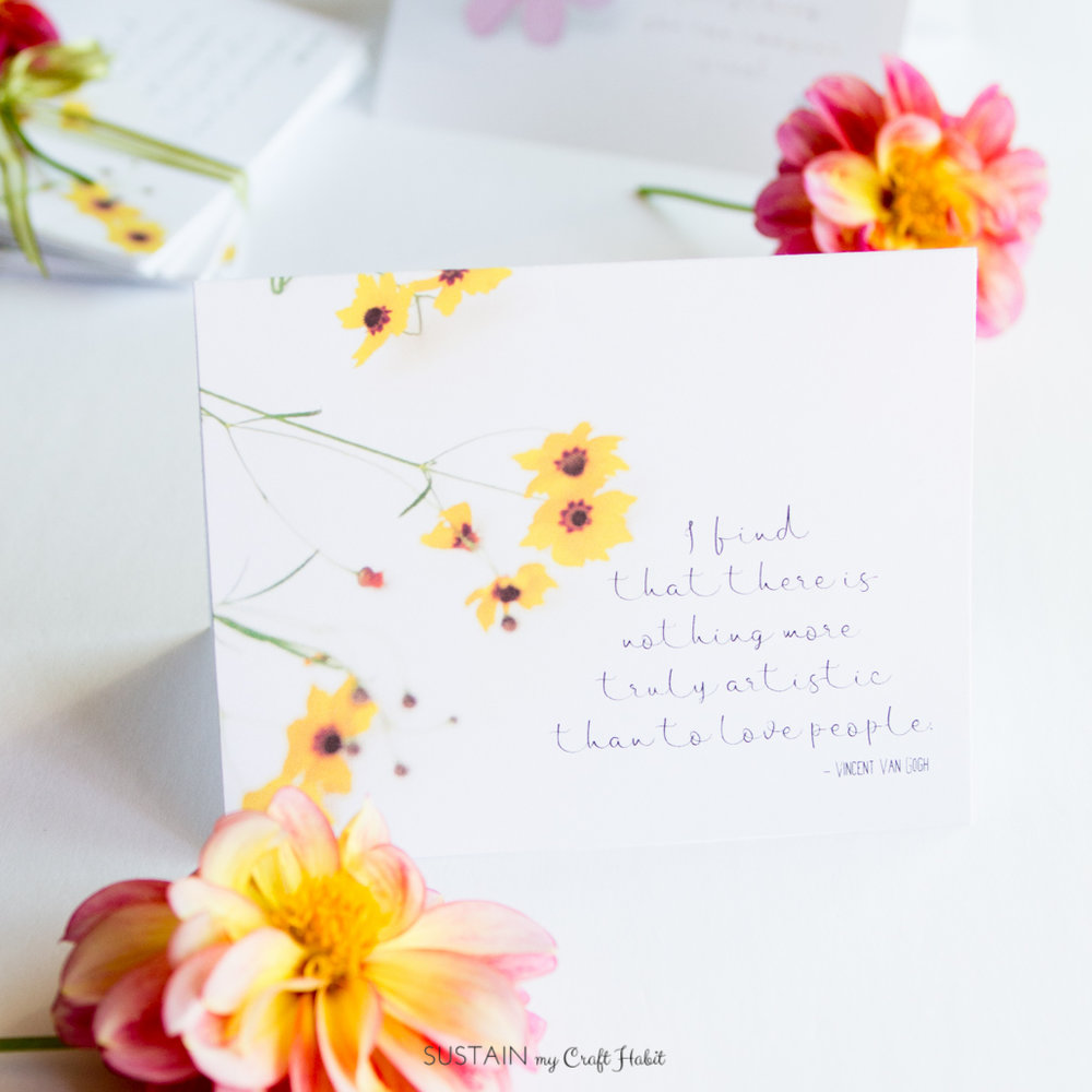 Free printable floral note card. Sign up to receive a new inspirational card template each month.