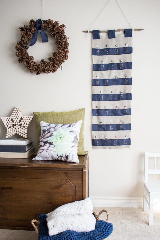 Make your own blue striped advent calendar. A lovely DIY Christmas keepsake idea.