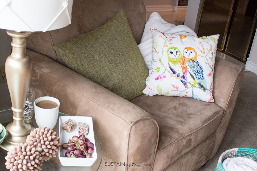 Cozy Living Room Decorating Ideas | Create a relaxing reading nook | Barn Owl Pillows | Self-care ideas for moms #ad