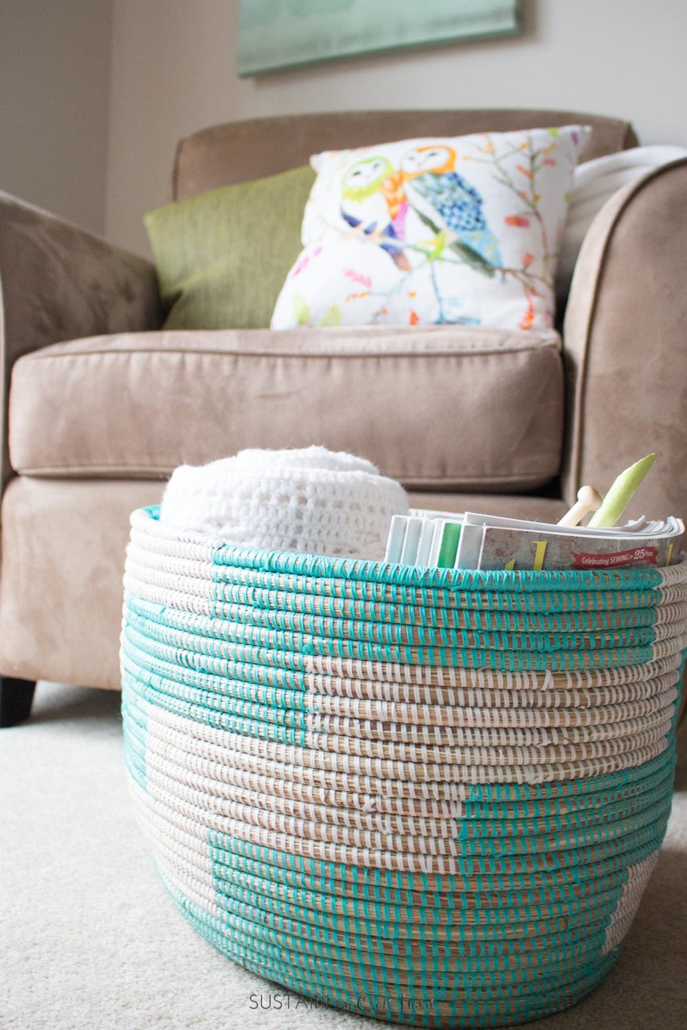 Cozy Living Room Decorating Ideas | Create a relaxing reading nook | Self-care ideas for moms | Knitting basket #ad