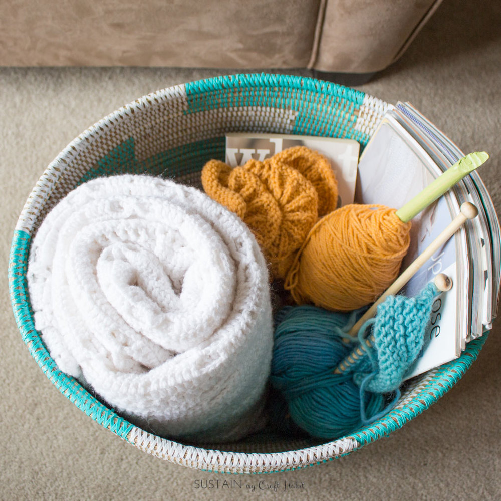 Cozy Living Room Decorating Ideas | Create a relaxing reading nook | Knitting basket | Self-care ideas for moms #ad