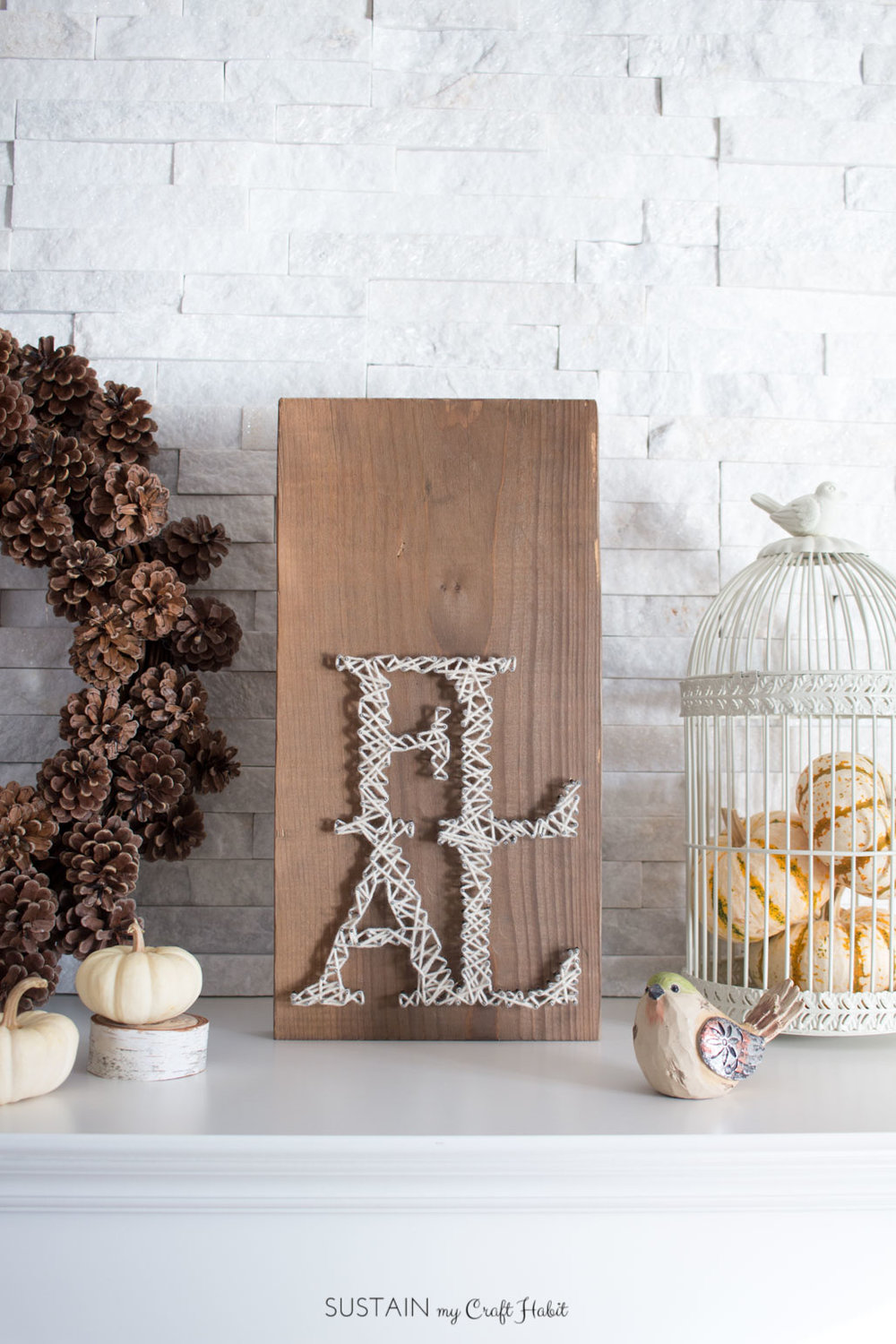 DIY Rustic String Art Fall Sign | Autumn Home Decor Idea with Tutorial