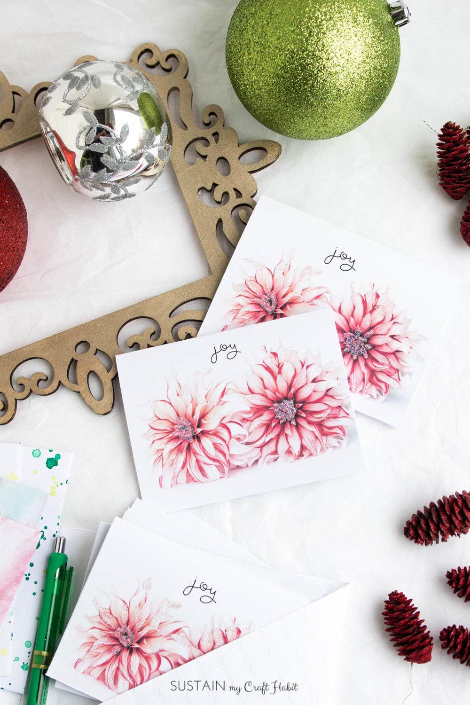 Diy Christmas Cards Free Printable Diy Christmas Cards Floral Joy Diy Craft
