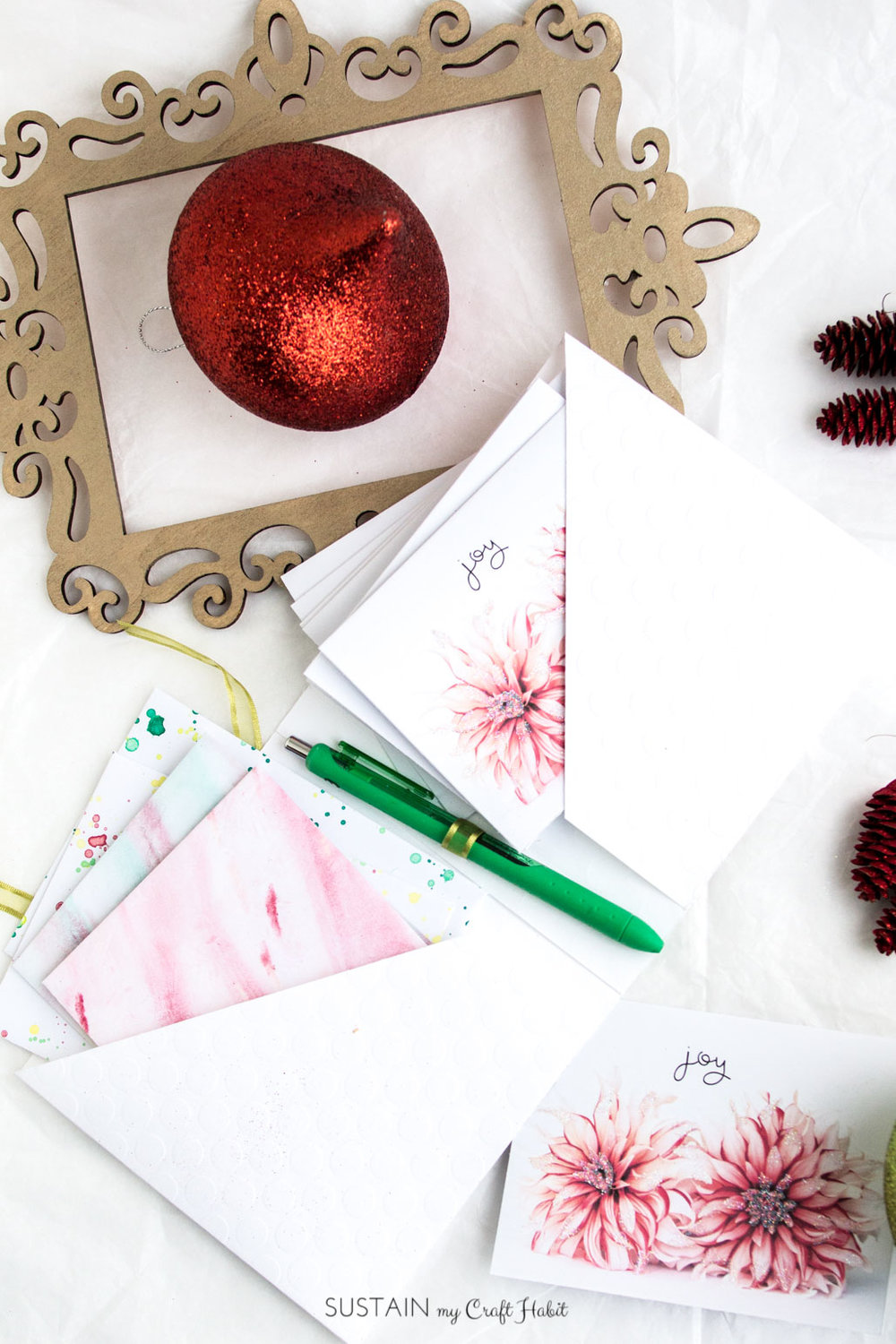 DIY printable Christmas greeting cards | Handmade ideas | Free floral templates