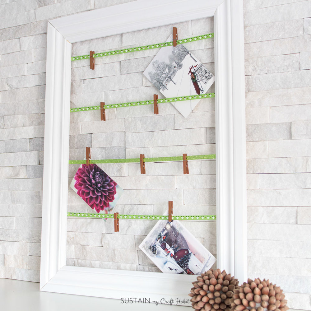 DIY Christmas Greeting Card Display with Ribbon | Create a rustic Christmas mantle | Simple and easy fireplace decoration ideas