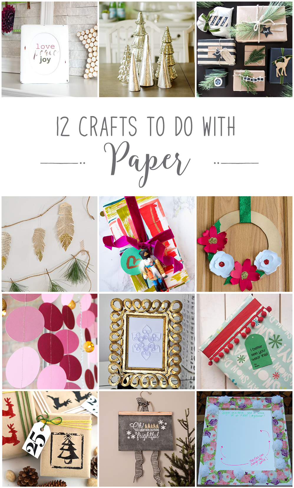 12 fun and simple Christmas crafts to make with paper including free printable art | Easy holiday DIY ideas using paper