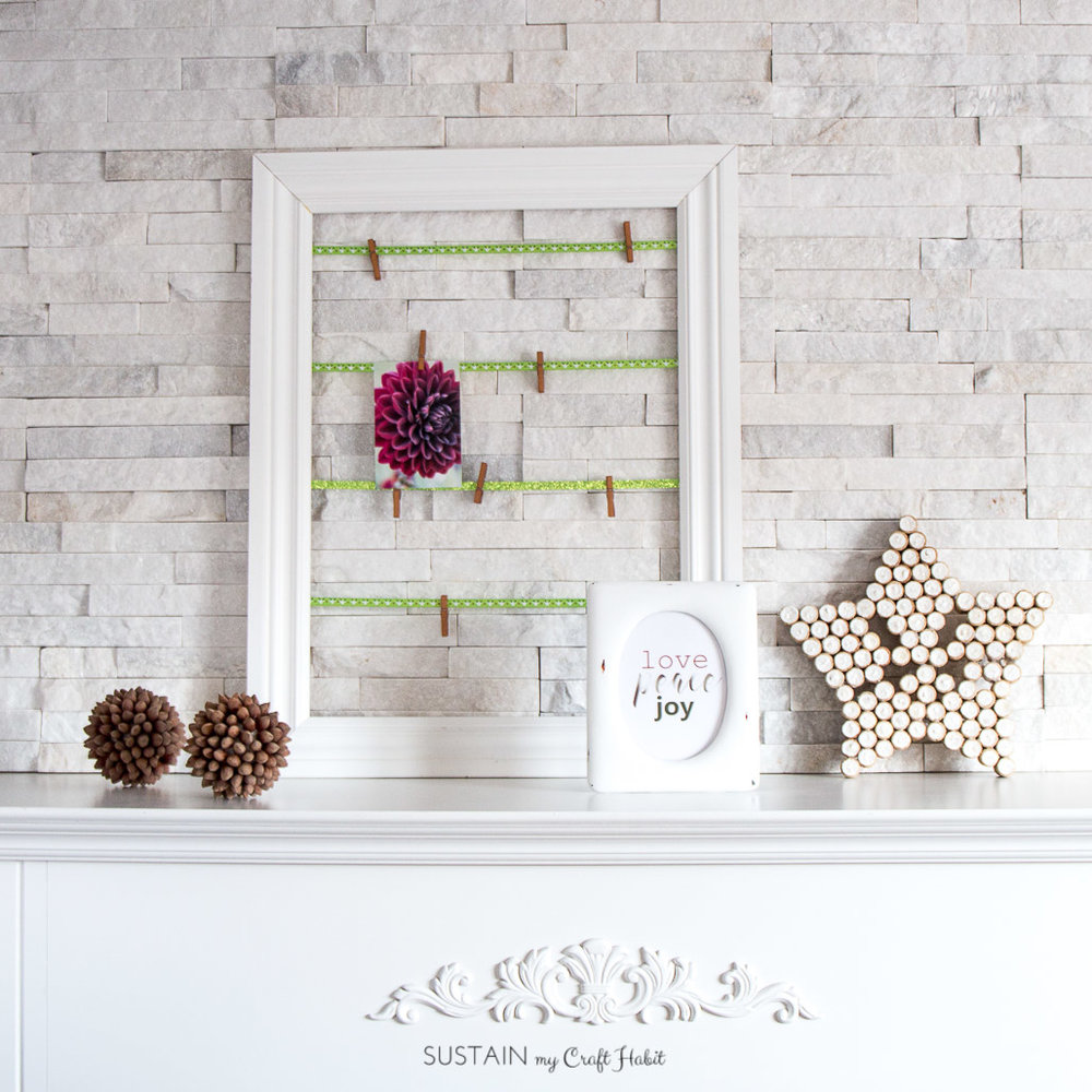 Holiday printable art and upcycled photo frame with Decoart Chalky Finish paint | Love, Peace, Joy free Christmas printable | Easy mantle decorating idea