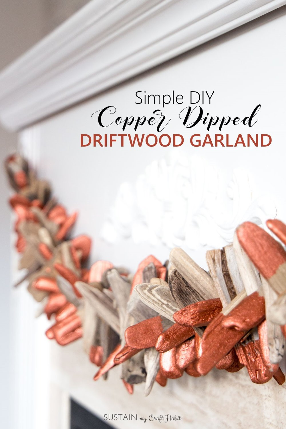 Easy DIY driftwood garland | Tutorial for a modern copper-dipped garland made with drift wood | Unique coastal home decor idea