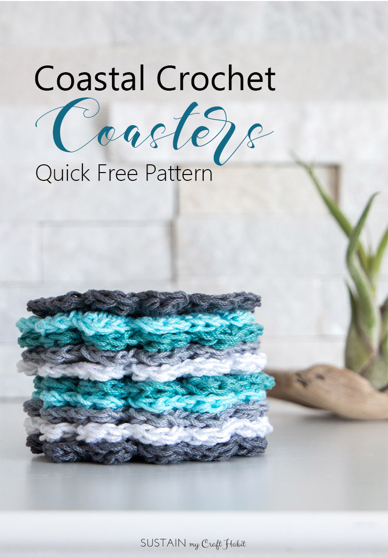 Free Crochet Patterns For Cotton Thread : Free Easy Crochet Coaster Pattern for Beginners: Coastal ...