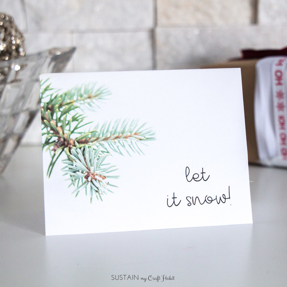 Let it snow free printable greeting card template | Nature-Inspired Christmas card print