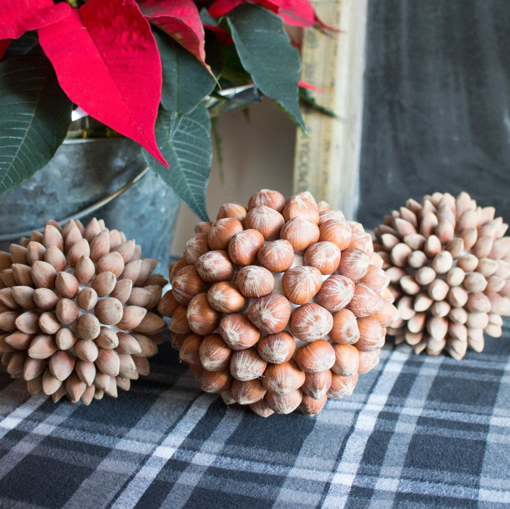 Nuts are not just for eating and baking! Use hazelnuts to make these impressive, rustic and beautiful DIY home decor balls for the holidays and beyond - SustainMyCraftHabit.com