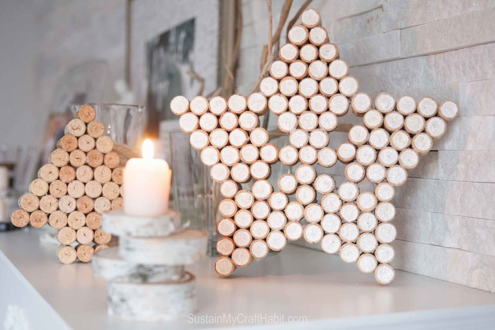 Upcycled wine cork project | Simple Christmas mantle DIY craft | Scandinavian inspired holiday mantle decorations
