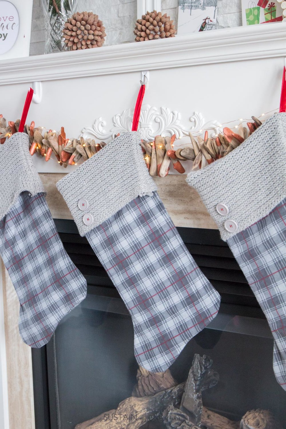 DIY Upcycled flannel and knit sweater into a rustic Christmas stocking   Holiday mantel DIY decor idea