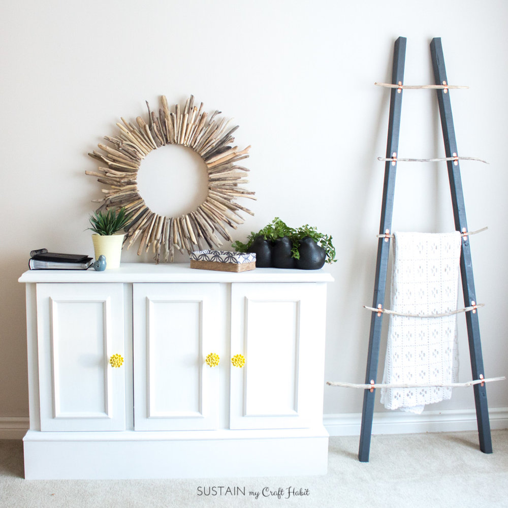 An outdated buffet gets a makeover into a bright and modern living room furniture piece. DIY tutorial using Fusion Mineral Paint.