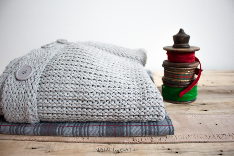DIY flannel and upcycled knit sweater Christmas stockings-7535.jpg
