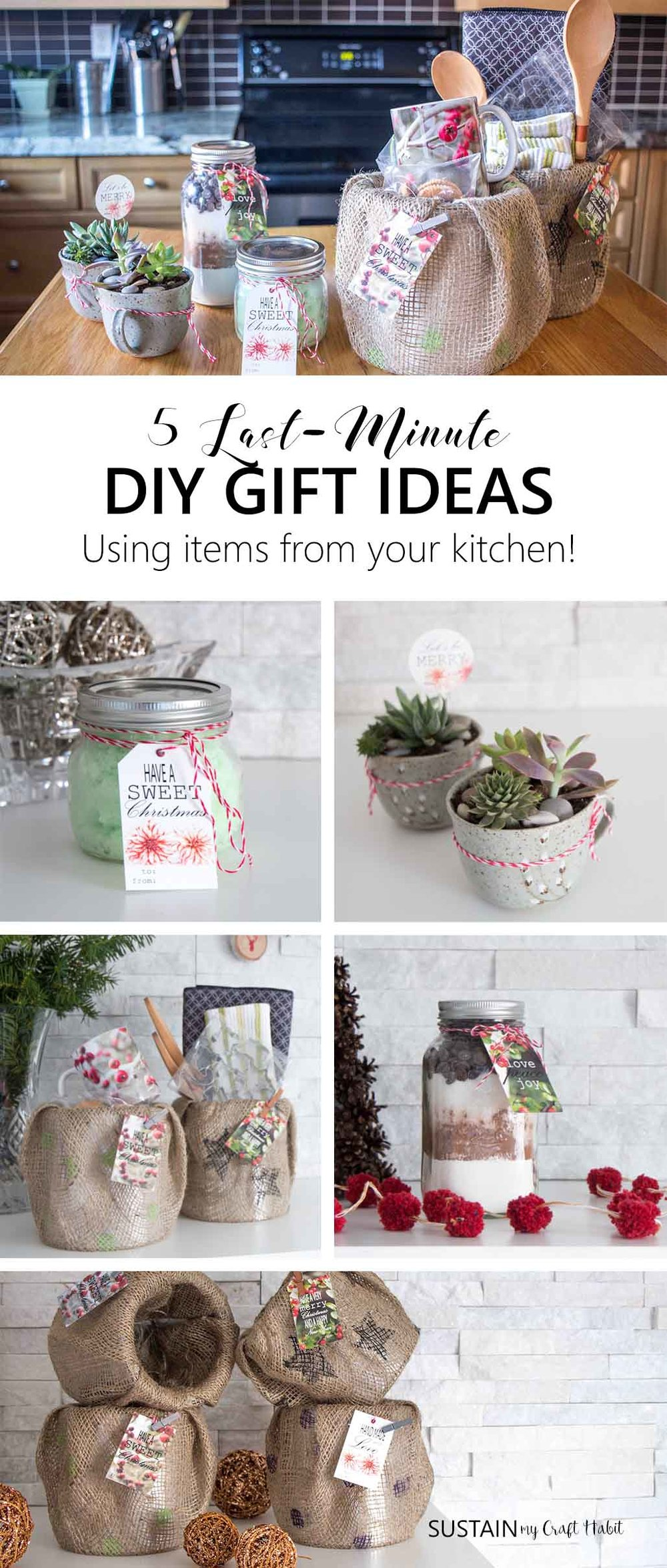 Raid your kitchen to make these quick and easy DIY handmade gift ideas. Great for hostess gifts, stocking stuffers, gift toppers and more. Video included.