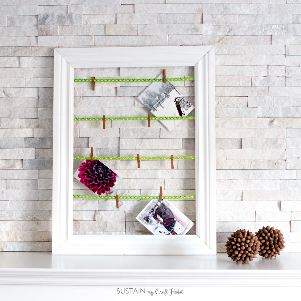 Simple DIY Christmas Greeting Card Display made with Ribbon