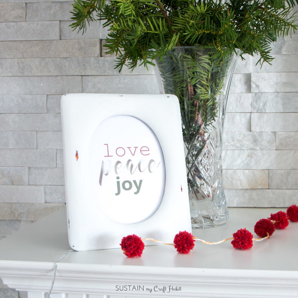 Upcycled photo frame with free Love, Peace, Joy printable art