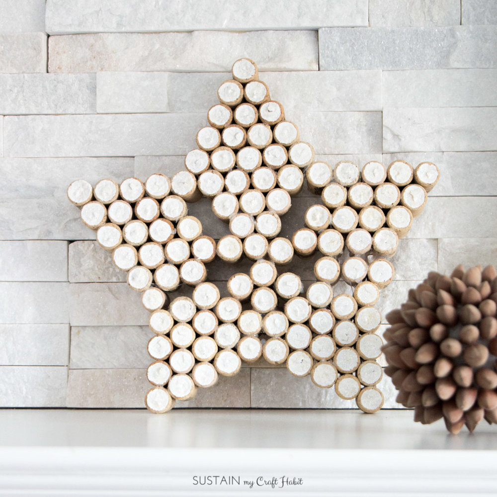 Upcycled wine cork decorative star