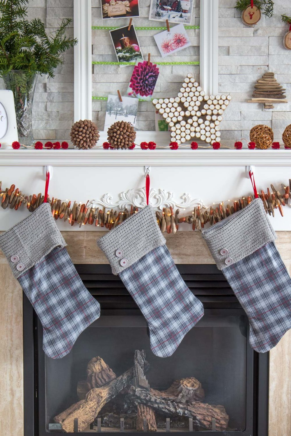 Upcycled flannel and knit sweater DIY rustic Christmas stockings