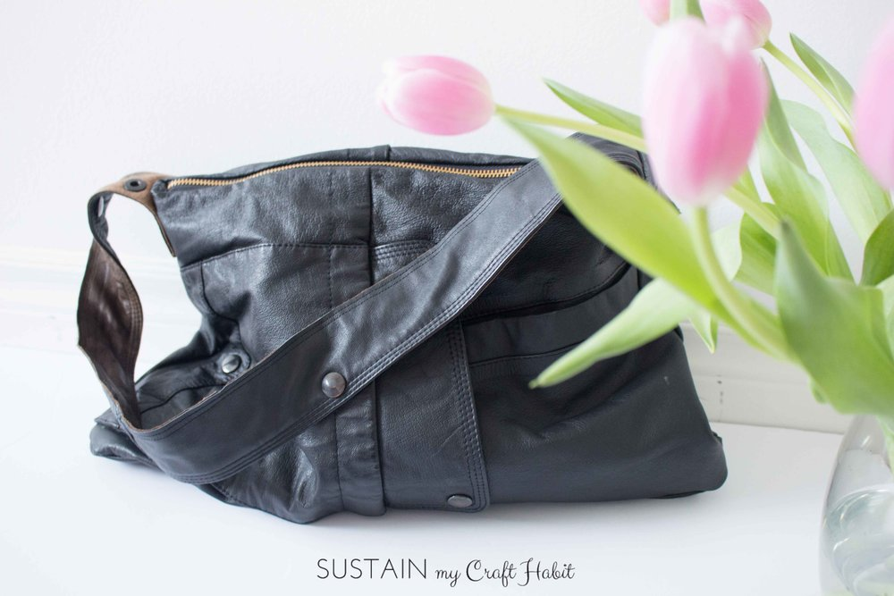 A purse upcycled from an old leather coat and 11 other creative crafts from the #12MonthsofDIY challenge
