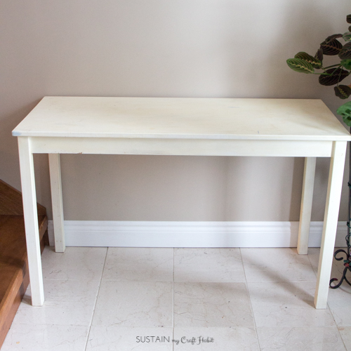 Stained wood console table makeover with DecoArt Satin Enamel in Seaside Blue