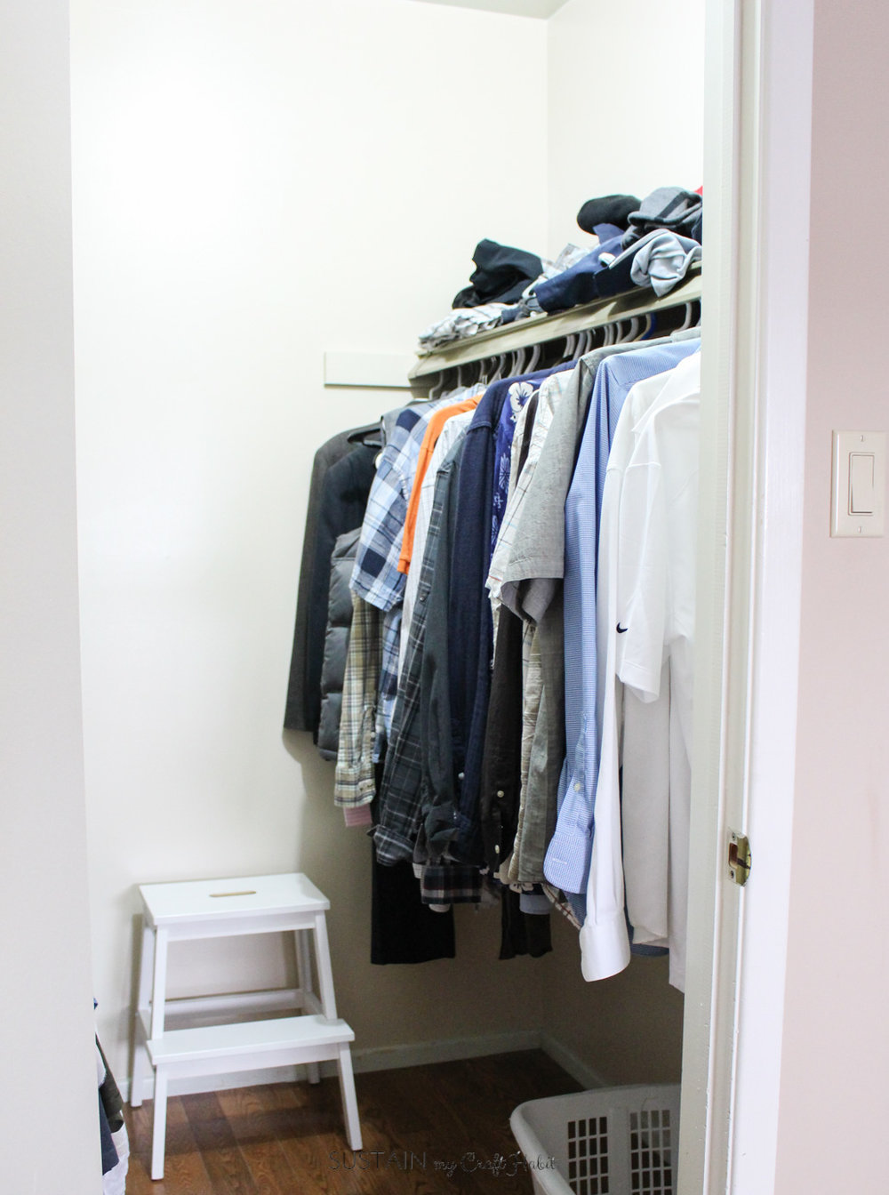 After years of commenting about the lack of space for his clothes, we finally installed a Rubbermaid Configurations Custom closet kit on hubby's side of the closet!