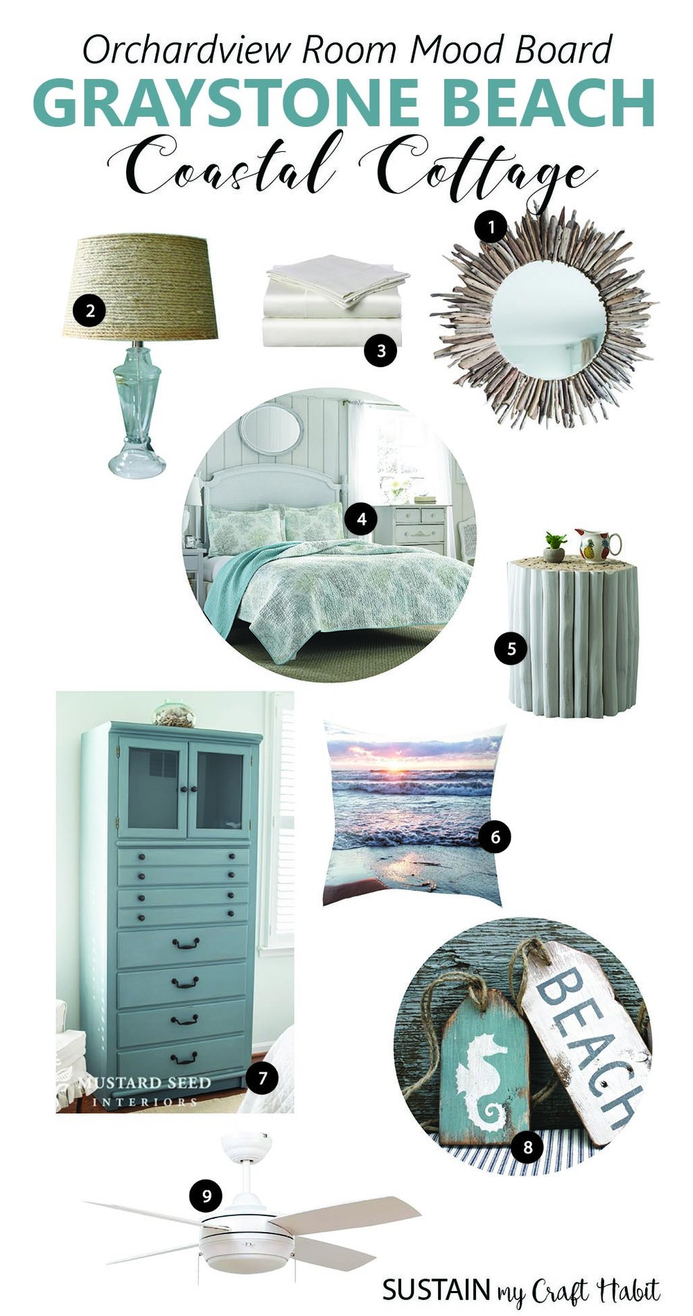 Graystone Beach Coastal Cottage Reno Orchardview Room Mood Board And DIY Decor Ideas