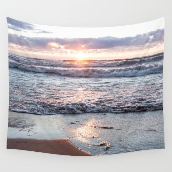 Coastal wall decor found on Society6   Crashing waves at Sunset by Sustain My Craft Habit   Coastal beach decor ideas